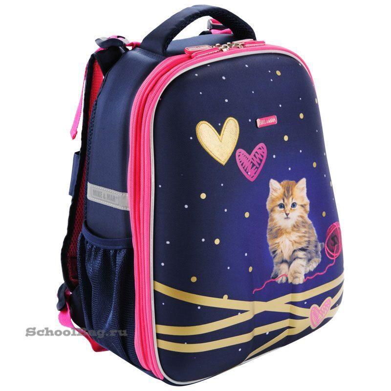 7174ec5b2665 Школьный рюкзак Mike-Mar 1008-127 Китти (синий/малиновый кант)
