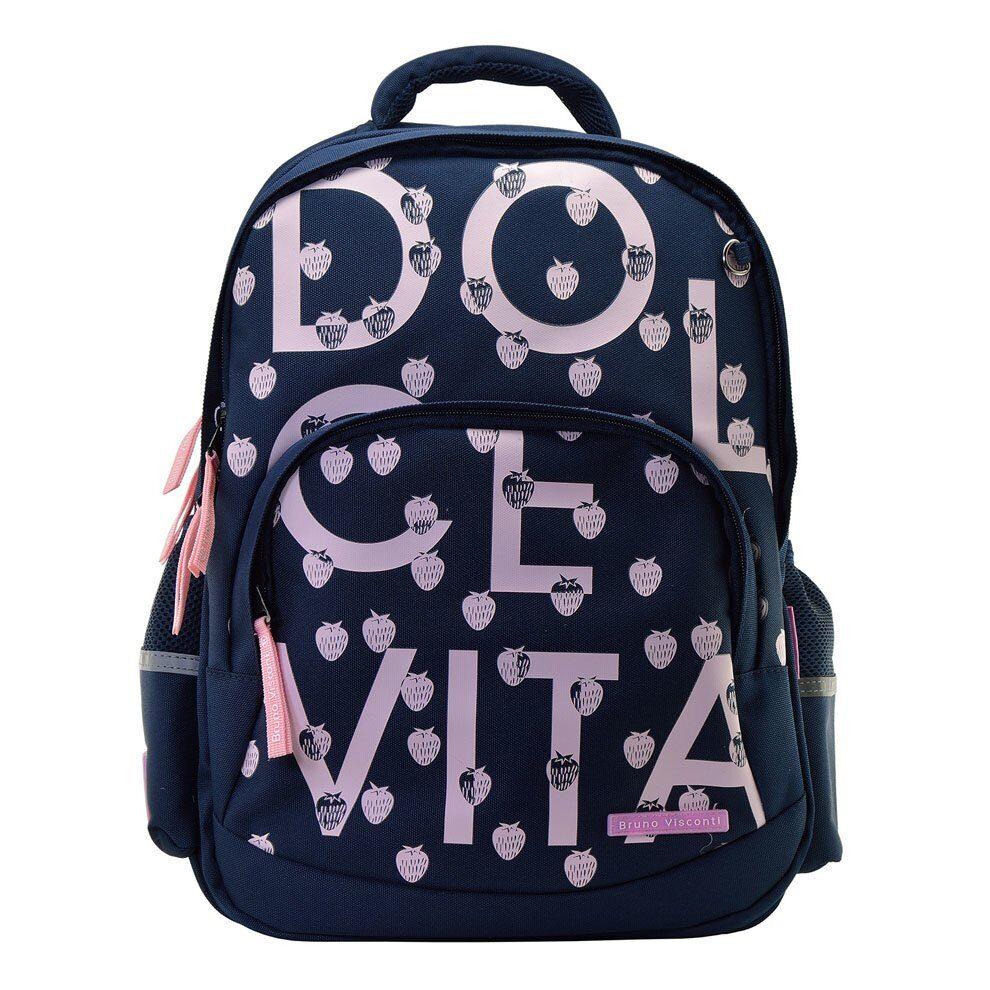 6dd1d784173a Школьный рюкзак Bruno Visconti Dolce Vita синий, с комфортной спинкой