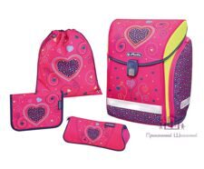 Ранец Herlitz Midi New Plus Pink Hearts (набор 4 пр.)