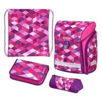 Ранец Herlitz Midi New Plus Pink Cubes (набор 4 пр.)