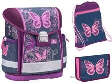 Ранец школьный Belmil Classy Set Purple Flying Butterfly (набор 3 предмета)